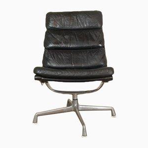 Sedia vintage in pelle nera di Herman Miller