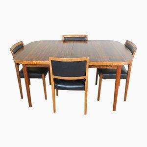 Tavolo da pranzo in palissandro e quattro sedie di Nils Jonsson per Troeds, anni '60