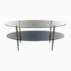 Vintage Oval Glass and Opaline Coffee Table, 1950s