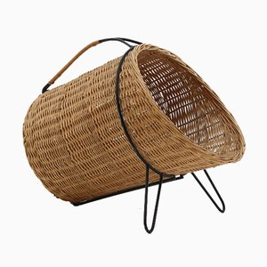 Mid-Century Scandinavian Cane and Metal Firewood Basket, 1950s
