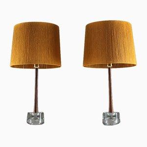 Lámparas de mesa suecas de palisandro y vidrio de Tranås Stilarmatur, años 60. Juego de 2