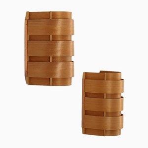 Apliques V155 escandinavos vintage de pino y cobre de Hans-Agne Jakobsson. Juego de 2