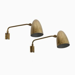 Swedish Grace Wall Lamps from Böhlmarks, 1940s, Set of 2