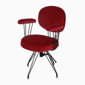 Vintage Schreibtischstuhl mit rotem Samtbezug, 1960er