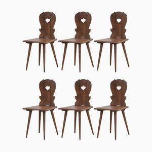 Französische Vintage Esszimmerstühle im Almhütten-Stil, 1960er, 6er Set