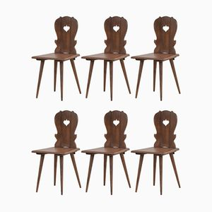Vintage French Alpine Dining Chairs, 1960s, Set of 6