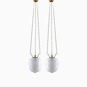 Lámparas colgantes suecas de latón y vidrio, años 30. Juego de 2