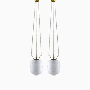 Swedish Brass & Glass Pendants, 1930s, Set of 2
