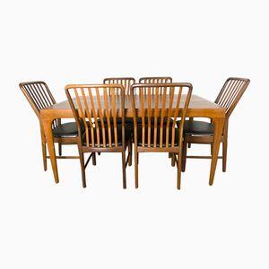 Tavolo da pranzo in teak e sei sedie di Sven Madsen per Uldum Modelfabrik