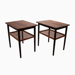 Danish Rosewood with Papercord Shelf Side Tables, 1960s, Set of 2