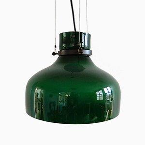 Grüne Vintage Hängelampe aus Glas