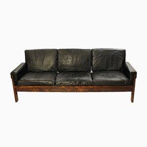 Sofá danés de palisandro y cuero negro, años 60