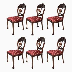 Chaises Artisanales Vintage en Acajou, Set de 6