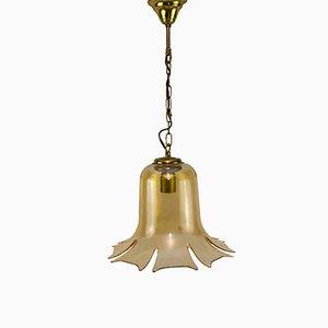 Mid-Century Hängelampe mit Glasschirm in Glockenblumen-Optik