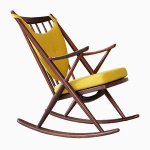 Sedia a dondolo Kvadrat in teak con tessuto Hallingdal di Frank Reenskaug per Bramin, anni '60