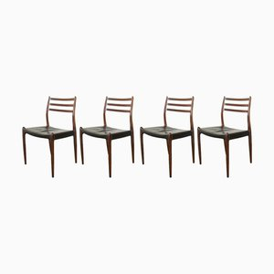 Model JL78 Rosewood & Leather Dining Chairs by Neils Moller for J.L. Mollers, 1960s, Set of 4