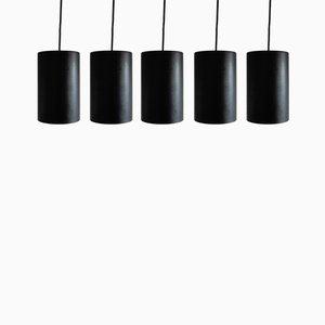 Lámparas de techo de metal negro, años 60. Juego de 5
