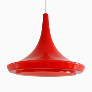 Lampada vintage rossa in vetro, anni '70