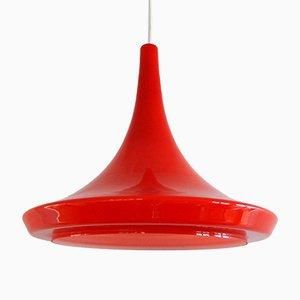 Lámpara colgante vintage de vidrio rojo, años 70