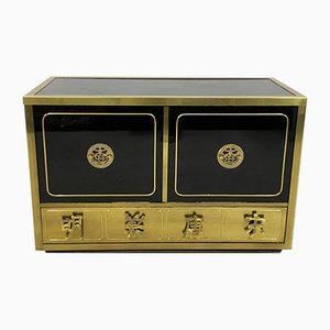 Vintage Black Lacquer and Brass Cabinet from Mastercraft