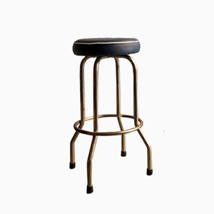 Vintage Metal Bar Stool with Blue Leatherette Seat