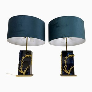 Vintage Algue Table Lamps by Maison Charles, Set of 2