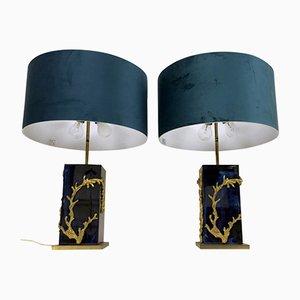 Vintage Algue Tischlampen von Maison Charles, 2er Set