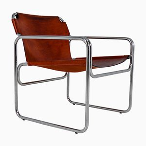 Bauhaus Tubular Steel & Saddle Leather Chair by Eros Raffael, 1960s