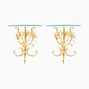 Italienische Couchtische aus vergoldetem Metall in Blumen-Optik, 1960er, 2er Set