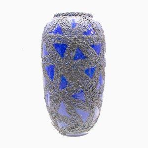 Jarrón de pie Fat Lava de cerámica con motivo de pez, años 60