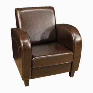 English Leather Club Chair, 1980s