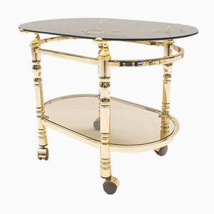 Hollywood Regency Brass & Smoked Glass Serving Trolley, 1960s
