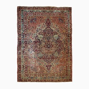 Antique Handmade Kerman Lavar Rug, 1880s