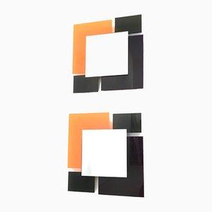 Espejos de pared en negro y naranja, años 80. Juego de 2