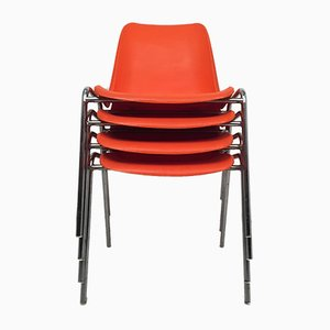Vintage Orange Stacking Chairs by Helmut Starke for Lohr, 1974, Set of 4