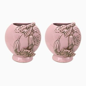 Pink Art Deco Ceramic Vases, 1940s