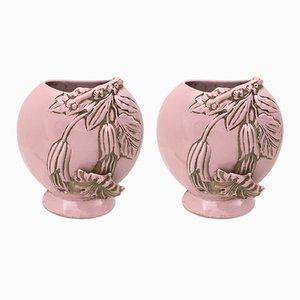Vasi Art Déco rosa in ceramica, anni '40
