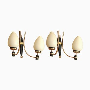 Vintage Italian Brass and Opal Glass Wall Lamps, 1950s