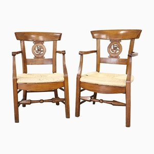 Antique Cherry Armchairs, 1780s, Set of 2