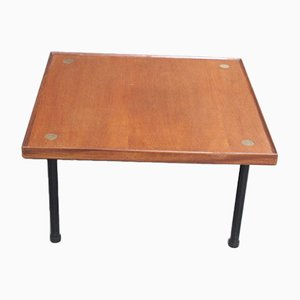 Table Basse Vintage en Bois et Laiton par Melchiorre Bega, 1960s