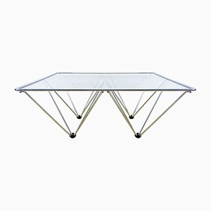 Chromed Metal Coffee Table with Glass Top, 1980s