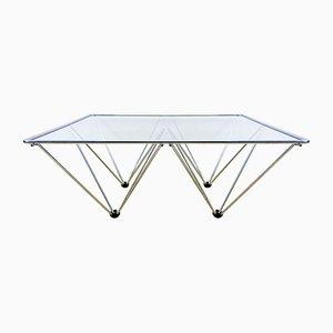 Tavolino da caffè in metallo cromato con ripiano in vetro, anni '80