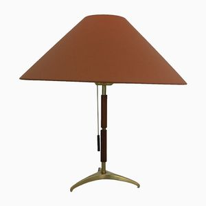 Brass and Rosewood Table Lamp by J. T. Kalmar for Werksentwurf, 1950s