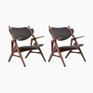 Schwarze Vintage Mid-Century Stühle, 1950er, 2er Set
