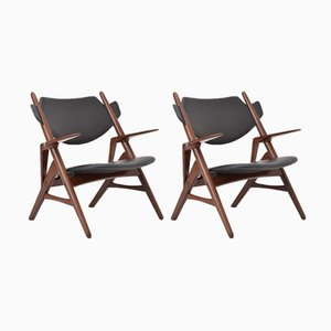 Vintage Black Mid-Century Chairs, 1950s, Set of 2