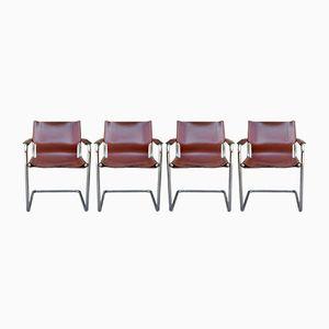 Vintage Armlehnstühle aus Leder & Chrom, 4er Set