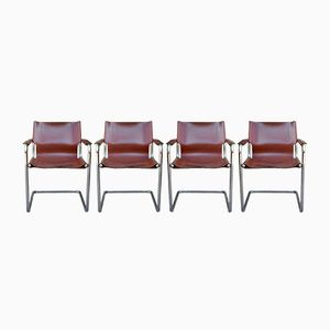 Vintage Leather & Chrome Armchairs, Set of 4
