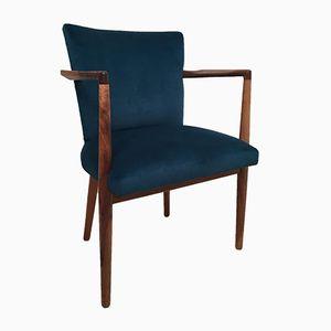 Vintage Teal Velvet Armchair
