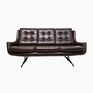Vintage Danish Chocolate Brown Leather Sofa