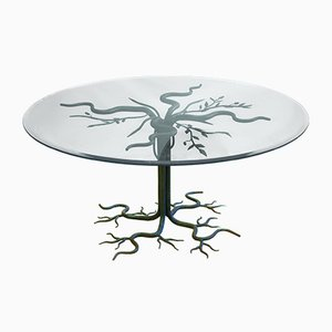Vintage Brutalist Wrought-Iron Tree Coffee Table